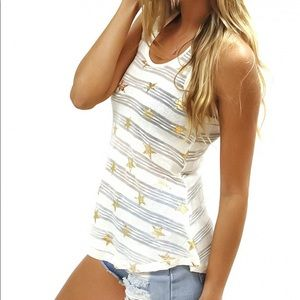 NWT Rampage Ivory Gold Star Tank